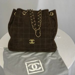 Authentic Chanel Small Brown Suede Tote Bag
